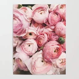 Flowers, Pastel, Plant, Pink, Minimal, Flowers decor, Interior, Wall art Art Poster