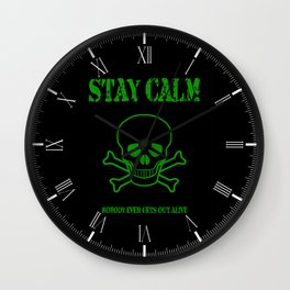 Stay Calm Pirate Flag Wall Clock