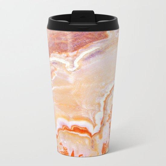 Peach Onyx Marble Metal Travel Mug