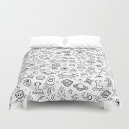 Space Print, Black and White pattern, Alien Illustration, Outer Space, Rocket Ship Duvet Cover