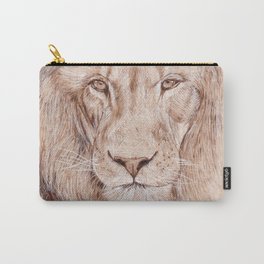 Lion Portrait - Drawing by Burning on Wood - Pyrography Art Carry-All Pouch
