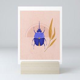 Botanical beetle sunrise Mini Art Print