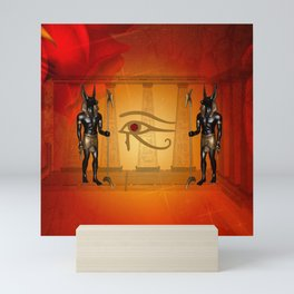 The all seeing eye with anubis Mini Art Print