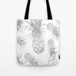 grayscale pineapple pattern, vintage tropical desing Tote Bag