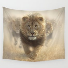 Lions Running - Eat My Dust Wall Tapestry