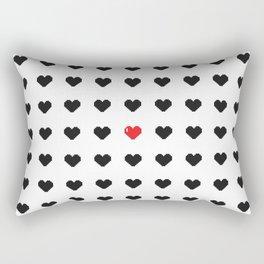 Digital 8-Bit Hearts Pattern Rectangular Pillow
