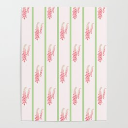 Stripes and Foxglove Pink and Green Repeat Pattern Poster