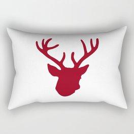 Deer Head: Red Rectangular Pillow