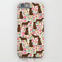 Labrador Retriever florals chocolate lab cute pet gifts must have labrador florals iPhone Case