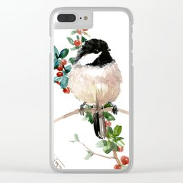 chickadee and berries Clear iPhone Case