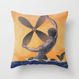 Merman with Ship Propeller Vintage Art Throw Pillow
