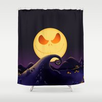 jack skellington Shower Curtains featuring Starry Night Jack Skellington by ThreeBoys