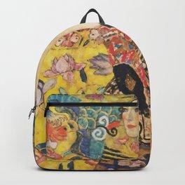 Gustav Klimt Lady With Fan  Art Nouveau Painting Backpack