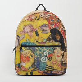 Gustav Klimt Lady With Fan  Art Nouveau Painting Backpack