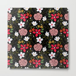 Pretty White Pink Floral Black Brush Strokes Pattern Metal Print