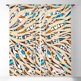 Inky Whimsical Funky Pattern Blackout Curtain