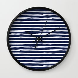 Navy Blue Stripes on White II Wall Clock