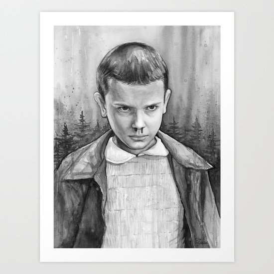 Stranger Things Eleven Watercolor Painting Black and White Art Print