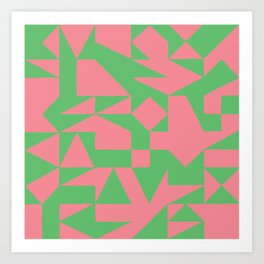 English Square (Pink & Green) Art Print