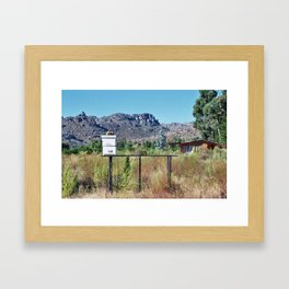 Bees on a Citrus Farm near Mountain Range Framed Art Print