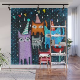Raining Night Cats Party Wall Mural