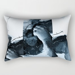 barb wire in blue Rectangular Pillow