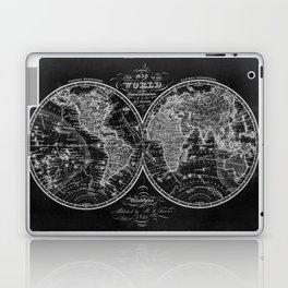 Black and White World Map (1842) Inverse Laptop & iPad Skin
