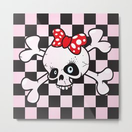 girl power skull Metal Print