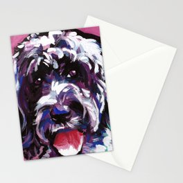 PWD Portuguese Water Dog Fun bright colorful Pop Art Dog Painting by Lea Stationery Cards