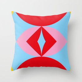A pill shaped window in a yellow wall. Inside there is a strange eye with a squared red iris. Throw Pillow
