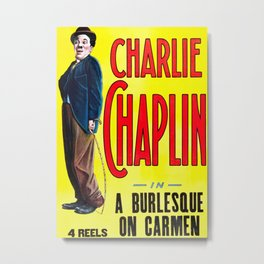 Charlie Chaplin - A Burlesque on Carmen, 1916 Vintage Poster for Wall Art, Prints, Poster, Tshirts, Men, Women, Kids Metal Print