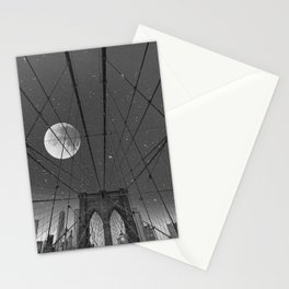 Blood Moon over Brooklyn Bridge and New York City Stationery Cards