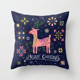 Happy Deer Card Throw Pillow