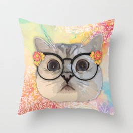 Cat with flower glasses Throw Pillow