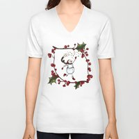 snowman V-neck T-shirts featuring Snowman by MadTee