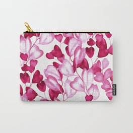 Valentine's Day Red Heart-Shaped Floral Pattern Carry-All Pouch