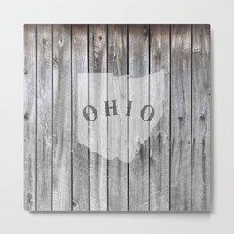 Ohio Map Barn Wall Wood Rustic Home Metal Print