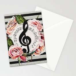 Treble Clef with Watercolor Roses Stationery Cards