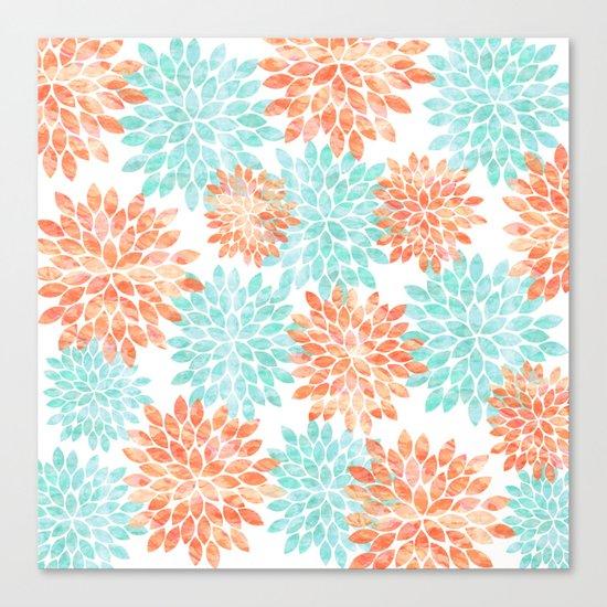 aqua and coral flowers Canvas Print
