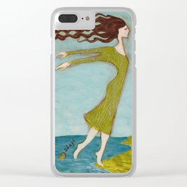 Flying Girl Adapts to New Worlds, or Fish Lessons Clear iPhone Case