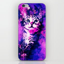 pianca baby cat kitten splatter watercolor purple pink iPhone Skin