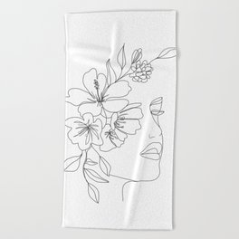 Minimal Line Art Woman Face II Beach Towel
