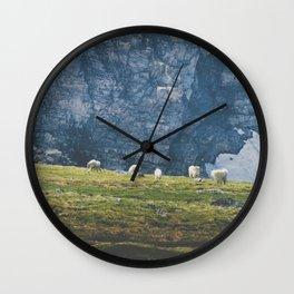 Beartooth Mountain Goats Wall Clock