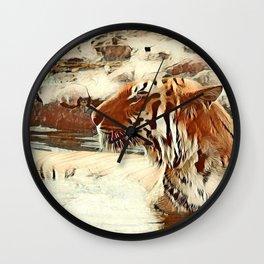 Warm colored Animal swimming tiger Wall Clock