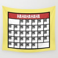 calendar Wall Tapestries featuring The Laughing Calendar by Josh LaFayette