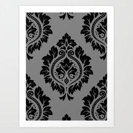 Decorative Damask Pattern Black on Gray Art Print