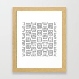 Mid Century Owl Pattern Grey Framed Art Print