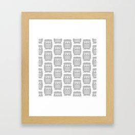 Mid Century Owl Pattern Grey Framed Art Print