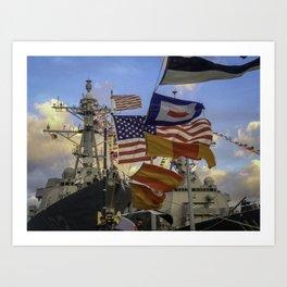 Full Flagged Ship Art Print