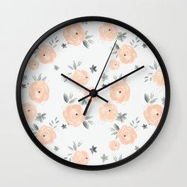 Peach n Gray Florals Wall Clock